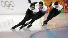 Team Canada competes in the men's speed skating team pursuit quarterfinals at the Adler Arena Skating Center during the 2014 Winter Olympics in Sochi, Russia, Friday, Feb. 21, 2014. (Matt Dunham/AP)
