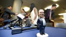 A Mayor Rob Ford bobble head doll sits on a table before the mayor arrived to signs the dolls for supporters at city hall in Toronto, Ontario Tuesday, November 12, 2013. (Kevin Van Paassen/The Globe and Mail)