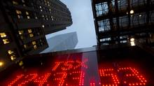 A tote board displays the TSX closing figure for the year in Toronto on Dec.31, 2012. The Toronto stock market ended 2012 trading higher on positive news from the U.S. on its so-called fiscal cliff crisis. (Frank Gunn/The Canadian Press)