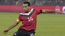 Canada's Dwayne DeRosario converts a penalty to score his team's second goal against St. Kitts and Nevis during first half World Cup qualifying soccer action in Toronto on Tuesday, November 15, 2011. (The Canadian Press)