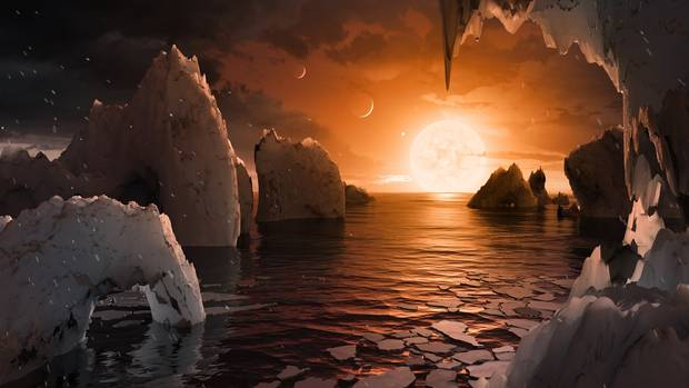 An artist's interpretation of what the surface of planet TRAPPIST-1f could look like.