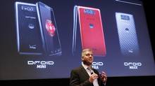 Rick Osterloh, Senior Vice President Product Management Motorola Mobility, speaks during the Verizon Wireless media event in New York July 23, 2013. Verizon Wireless announced on Tuesday the three new phones being the Droid Mini, Droid Ultra and Droid Maxx under its Droid smartphone brand from Google Inc's Motorola. (Shannon Stapleton/Reuters)