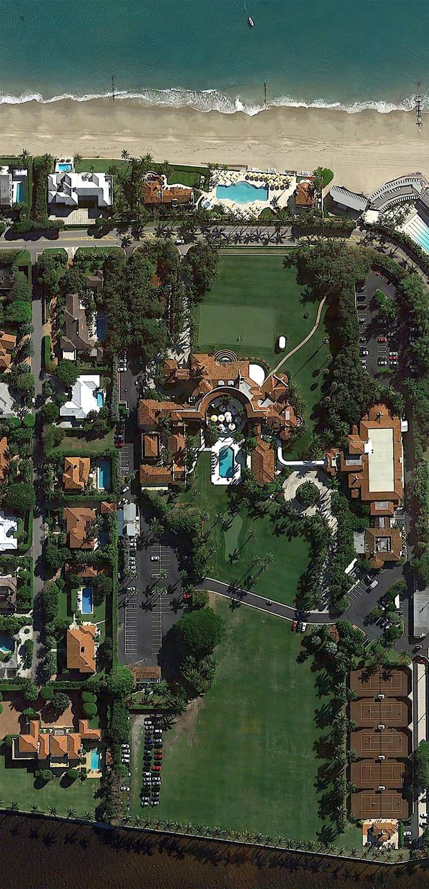 An aerial view of the sprawling Mar-a-Lago estate, which Donald Trump bought it for $7-million in 1985.
