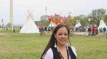 Crystal Lameman of the Beaver Lake Cree First Nation in Alberta poses for a photo as Native Americans, farmers, ranchers and cowboys rally to protest against the Keystone XL tar sands pipeline in Washington on Tuesday, April 22, 2014. (Alex Panetta/THE CANADIAN PRESS)