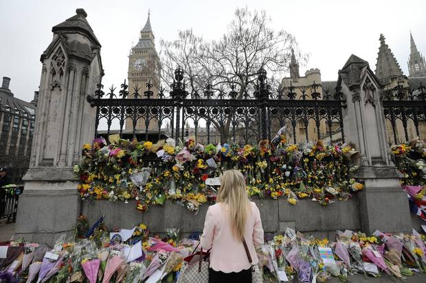 A memorial was built up outside the Houses of Parliament in memory of those who died in the Westminster terror attack in March, 2017. Five people, including the assailant, were killed and around 40 people were injured.