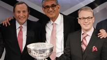 NHL commissioner Gary Bettman (left), Rogers Communications CEO Nadir Mohamed (centre) and Rogers Media president Keith Pelley during a conference announcing a 12-year national broadcast and multimedia agreement between Rogers Communications and the NHL. (Fernando Morales/The Globe and Mail)