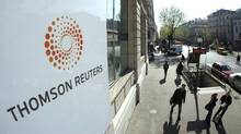 File photo of a plaque featuring the logo for Thomson Reuters in Paris. (JACKY NAEGELEN/REUTERS)