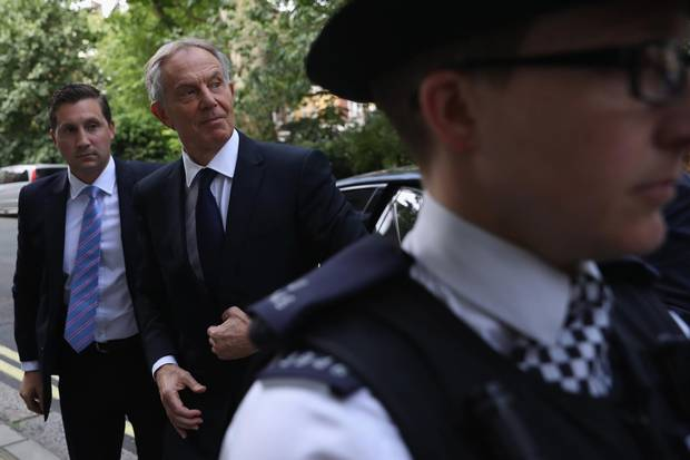 Former prime minister Tony Blair arrives back at his home after a press conference following the outcome of the Iraq Inquiry report on July 6, 2016.