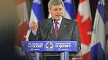 Prime Minister Stephen Harper speaks at a Conservative Party fundraiser in Montreal on May 20, 2009. (Graham Hughes/The Canadian Press)