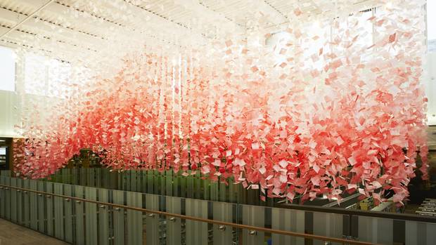 A mobile for Ontario's Kitchener Public Library looks like love notes caught in a gentle breeze.