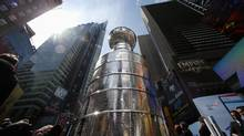 The Stanley Cup, presented to the champions of the National Hockey League, stands on display in Times Square, New York on Wednesday. (PHIL NOBLE/Reuters)