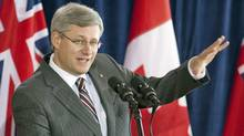Prime Minister Stephen Harper speaks to reporters in Thunder Bay on Sept. 17, 2010. (Adrian Wyld/THE CANADIAN PRESS)