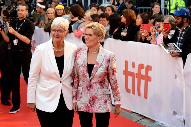 Ontario Premier Kathleen Wynne, right, and her partner Jane Rounthwaite arrive on the red carpet for the Borg/McEnroe premiere.