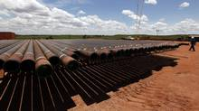 Oil excavation pipes at Campo Rubiales field in Meta, eastern Colombia April 21, 2010. (JOSE MIGUEL GOMEZ/REUTERS)