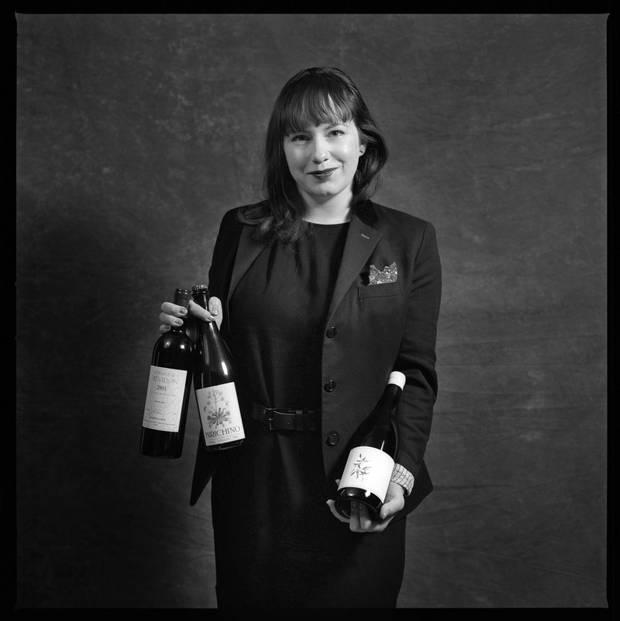 Krysta Oben, is photographed at the Toronto restaurant Byblos with Birichino 'Petulant Naturel' Pét Nat, California, Arnot-Roberts 'Watson Ranch' Chardonnay, Napa California and 2015 Domaine de Trévallon, Bouches-du-Rhône, Provence 2004.