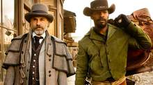 "Christoph Waltz as Schultz (left) and Jamie Foxx as Django (right) in the film ""Django Unchained,"" directed by Quentin Tarantino. (Handout/AP)"