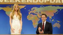 Kristen Wiig, portraying singer Lana Del Rey, left, and Seth Meyers during a skit from Saturday Night Live. (DANA EDELSON/AP)