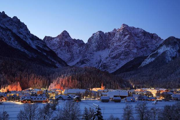 The village of Kranjska Gora is sometimes called 'a poor man's Austria,' but it features 30 kilometres of pistes, and 21 chair lifts.