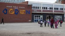 Students arrive at Ogden Junior Public School on Wednesday, March 27, 2013. Extracurricular activities have resumed in Ontario's public elementary schools. (For the Globe and Mail/Matthew Sherwood)