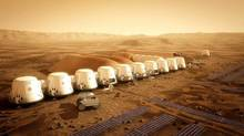 An artist's rendition of the Mars One settlement is shown in a handout photo. (Bryan Versteeg/THE CANADIAN PRESS)
