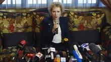 Lyudmila Vorobyeva, Russian ambassador to Malaysia, speaks to journalists during a news conference at the Russian embassy in Kuala Lumpur July 22, 2014. (SAMSUL SAID/REUTERS)