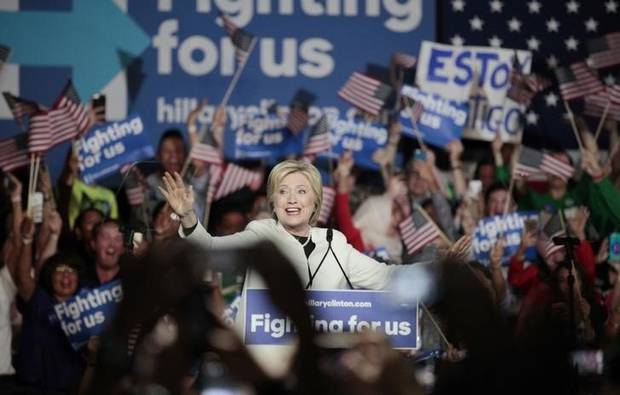 Hillary Clinton speaks about the results of the Super Tuesday primaries at a Super Tuesday campaign rally in Miami.