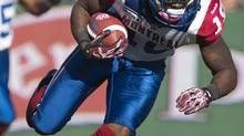 Montreal Alouettes slotback Jamel Richardson runs the ball during the first half of CFL action against the Saskatchewan Roughriders in Regina, Sask., Saturday, October 20, 2012. (Liam Richards/THE CANADIAN PRESS)