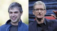 Google co-founder and CEO Larry Page and Apple CEO Tim Cook. (Nati Harnik and Asa Mathat/AP / Reuters(All Things Digital/Handout))