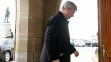 Prime Minister Stephen Harper arrives on Parliament Hill before the tabling of his first majority government budget on March 29, 2012. (Dave Chan/Dave Chan for The Globe and Mail)