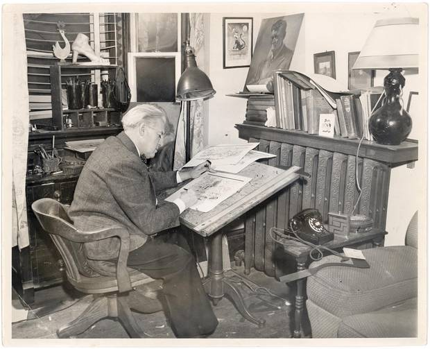 Lou Skuce at work in his home studio (undated).