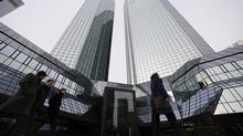 Deutsche Bank, headquartered in Frankfurt, changes hands at 75 per cent of tangible book value. (Ralph Orlowski/REUTERS)