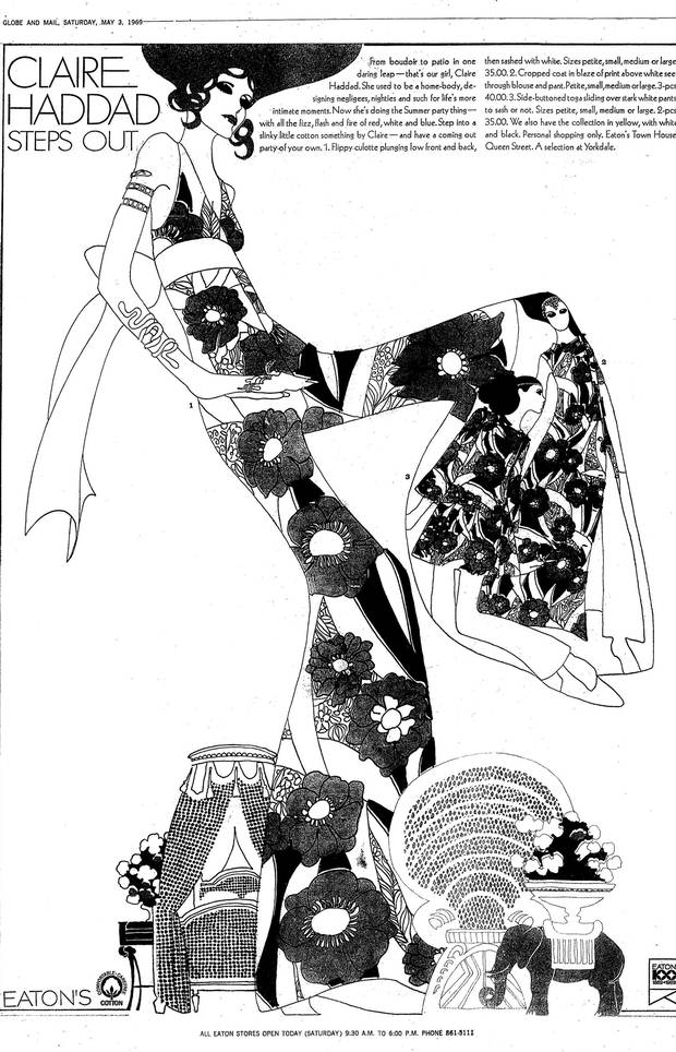 A 1969 Claire Haddad clothing advertisement for Eaton's.