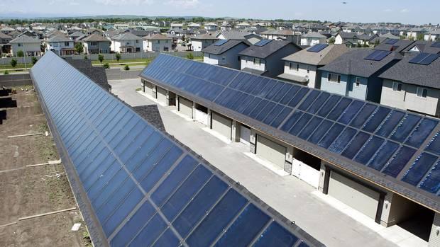 Solar panels line the rooftops of a the Drake Landing Solar Community in Okotoks, Alberta.