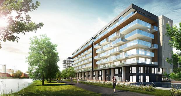 A rendering of the Bassins du Havre condo project in Griffintown, Montreal.