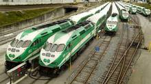 Parked GO Trains west of Spadina in Toronto on October 2, 2012. (Peter Power/The Globe and Mail)