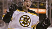 Boston Bruins right winger Phil Kessel celebrates his goal against the Toronto Maple Leafs during first period NHL action in Toronto on Monday November 17, 2008. THE CANADIAN PRESS/Frank Gunn (Frank Gunn)
