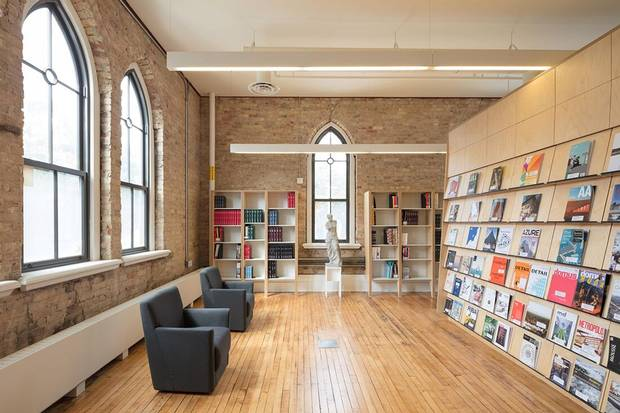 A library inside the restored Knox College portion of the University of Toronto's architecture school.