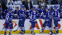 Toronto Maple Leafs head coach Randy Carlyle looks on with his team during a break in play agianst the St. Louis Blues during the second period of their NHL hockey game in Toronto, Tuesday March 25, 2014. (Mark Blinch For The Globe and Mail)
