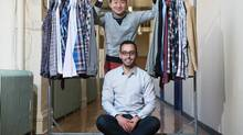 Frank & Oak co-founders Ethan Song, top, and Hicham Ratnani at their offices in Montreal in September, 2012. The online retailer targets men with 'style tips' e-mails and online resources. (Christinne Muschi For The Globe and Mail)