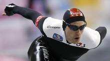 Canadian speed skater Denny Morrison of Fort St. John, B.C. finished fifth in a 1,000 metre long track race in China on Saturday. (YURIKO NAKAO/REUTERS)