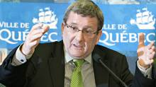 Quebec City Mayor Regis Labeaume announces the name of his new special counselor, Claude Rousseau, for the building project of the future arena, Monday, February 20, 2012 in Quebec City. THE CANADIAN PRESS/Jacques Boissinot (Jacques Boissinot/CP)
