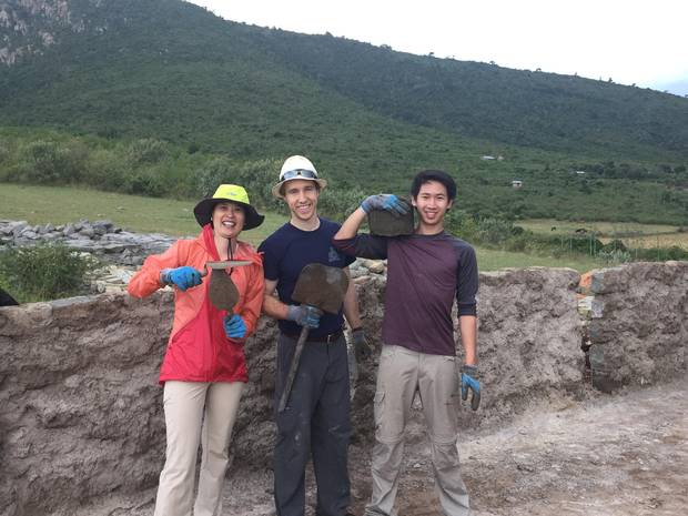 Elaine Chin, left, Craig Kielburger and Robert Wong were invited to participate in a school building project during their trip to Kenya to fully immerse themselves in the local culture and work alongside locals.
