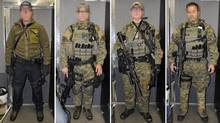 Photos were released at a coroners inquest on Oct.15, 2013, of the RCMP emergency response team members who surrounded former peacekeeper Greg Matters before he was fatally shot in September 2012. The photos show the officers, their faces blurred, dressed they way they were the night Matters was killed, some in head-to-toe combat gear, wearing flak vests and armed with M-16 rifles. (Handout/The Canadian Press)