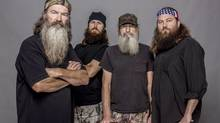 "This 2012 photo released by A&E shows, from left, Phil Robertson, Jase Robertson, Si Robertson and Willie Robertson from the A&E series, ""Duck Dynasty."" (Zach Dilgard/AP)"