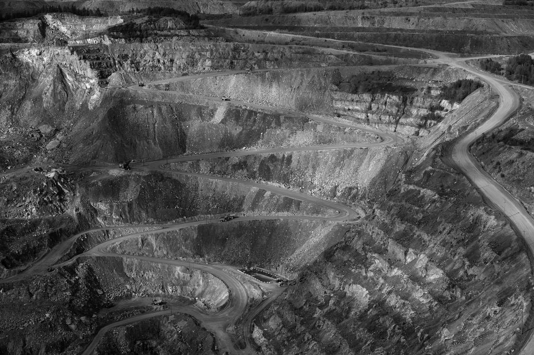 The Black Lake open pit asbestos mine, or Lac d'amiante du Canada (LAC) which is owned by LAB Chrysotile is located in Thetford Mines, Quebec.