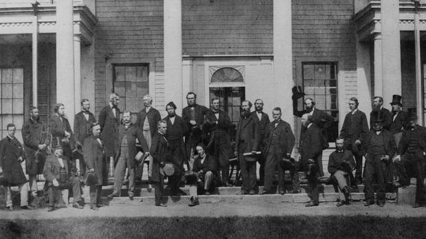 Delegates from the legislatures of Canada, New Brunswick, Nova Scotia and Prince Edward Island gather in Charlottetown in September, 1864, for the first of several conferences that would lead to Canadian Confederation.