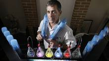 Rick McVicar, owner of 2nd Wind at his oxygen bar in his home office in North Vancouver, BC, July 25, 2009.