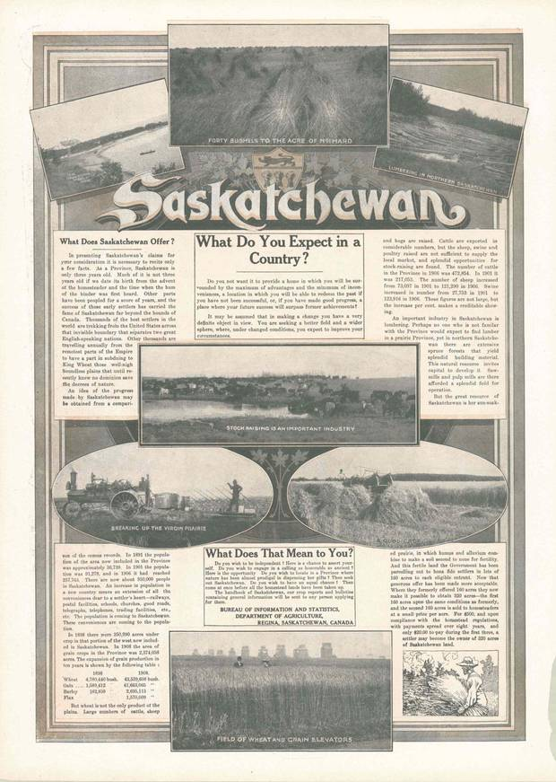 An advertisement in 1908 Christmas magazine promotes settlement in Saskatchewan, which had attained provincehood only three years earlier. 'Thousands are travelling anually from the remotest parts of the Empire to have a part in subduing to King Wheat those well-nigh boundless plains that until recently knew no dominion save the decree of nature,' it states.