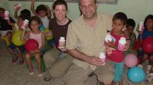 Steve Malone, shown with wife Sharon at a Honduran orphanage, bring together small groups of Canadian volunteers who travel to Honduras to work on a variety of projects. 1643 This attached photo is Sharon and I at the Orphanage in Jesus De Otoro distributing vitamins Sharon & Steve Malone Healthy Horizons for Children and Families 3956 St-James Ave Niagara Falls, Ontario L2J 2R3 289 296 3086