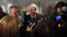 Toronto City Councillor Adam Vaughan spoke with the media during a scrum at Toronto City Hall, outside Committee Room 1, where city budget hearings are taking place in Toronto on January 09, 2012. (Deborah Baic/The Globe and Mail)